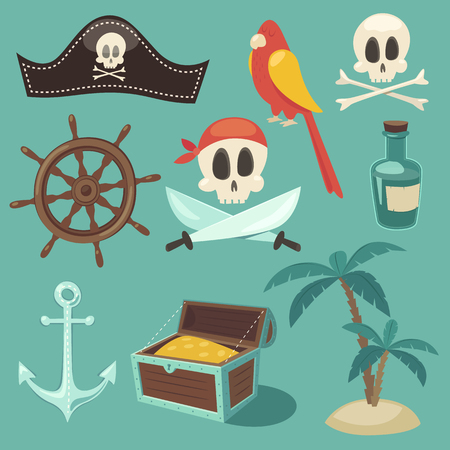 pirata: conjunto pirata lindo objetos ilustración colección de vectores diseño plano