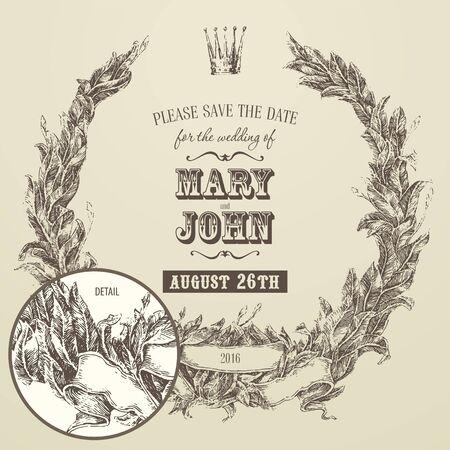 detail invitation: wedding invitation engraving floral wreath laurel wreath high detail vector illustration hand drawn Illustration