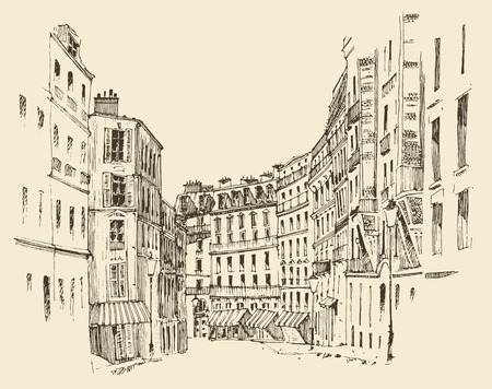 spire: streets in Paris France vintage engraved illustration hand drawn