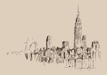 sky scraper: New York city engraving illustration hand drawn Illustration