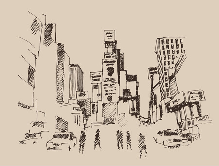 new york city times square: Times Square street in New York city engraving illustration hand drawn Illustration