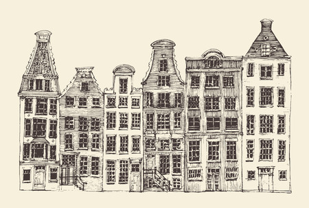 mansard: Amsterdam city architecture vintage engraved illustration hand drawn