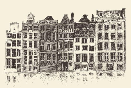 pictorial art: Amsterdam city architecture vintage engraved illustration hand drawn