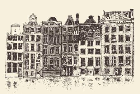 mansard: Amsterdam city architecture vintage engraved illustration hand drawn