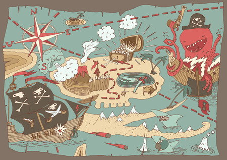 drapeau pirate: Attirée Treasure Island Carte pirate carte illustration vectorielle main Illustration