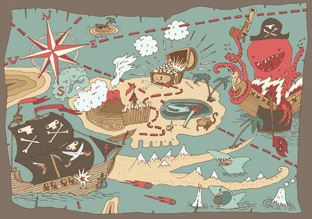 jolly roger pirate flag: Island Treasure Map pirate map vector illustration hand drawn Illustration