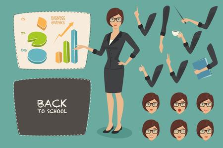 personnage: graphiques notion illustration vectorielle d'affaires de jeu de caractères jeunes femmes enseignant femme d'affaires sur les émotions face à tableau blanc de style plate retourner à l'école
