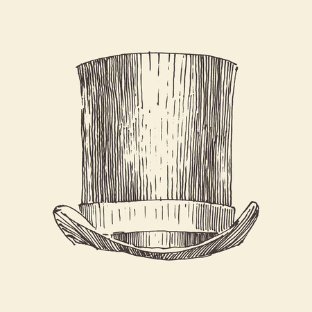 bowler hats: cylinder hat vintage engraved illustration hand drawn Illustration