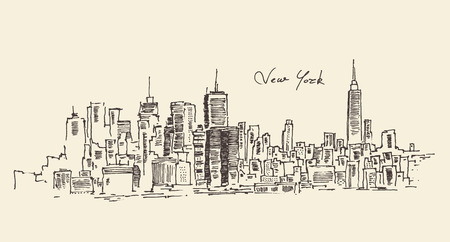manhattan skyline: New York city engraving vector illustration hand drawn
