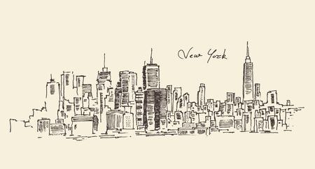New York city engraving vector illustration hand drawn