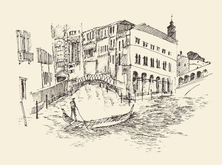 Dibuja la ciudad de Venecia Italia cosecha ilustración grabada mano