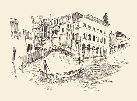 Venice city Italy vintage engraved illustration hand drawn Illustration