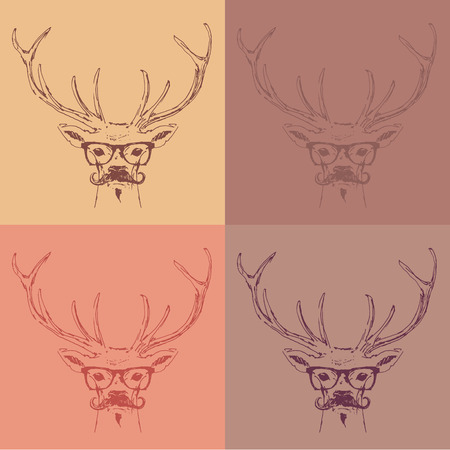 woodblock: deer head hipster style with glasses and mustache engraving vintage illustration hand drawn Illustration
