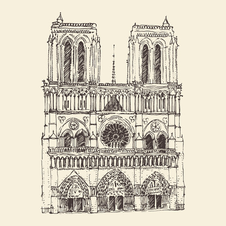 notre dame de paris: Cathedral of Notre Dame de Paris France vintage engraved illustration hand drawn