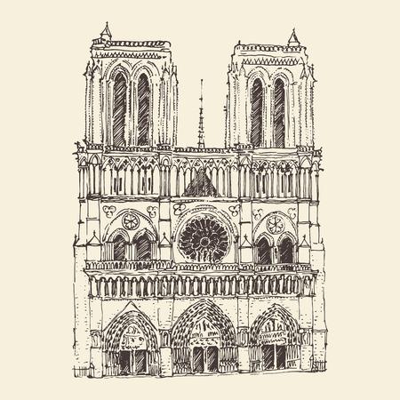 Cathedral of Notre Dame de Paris France vintage engraved illustration hand drawn