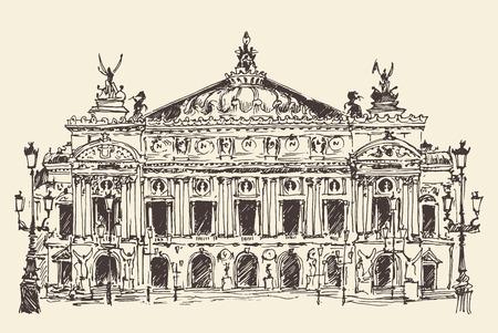 architectural heritage: Paris France Palais Garnier Paris opera house vintage engraved illustration hand drawn