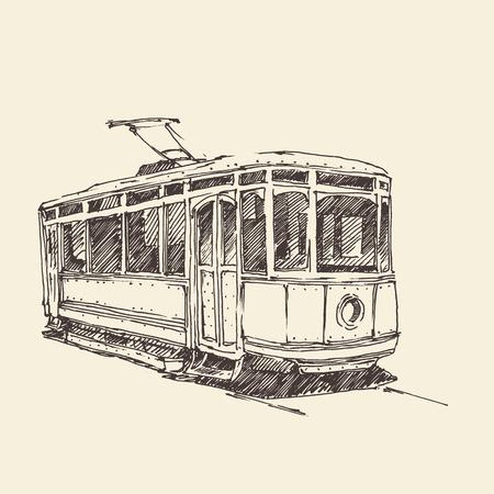 tramway: disegnato tram vintage illustrazione inciso a mano