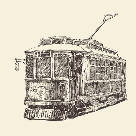 trams: vintage tram engraved illustration hand drawn Illustration