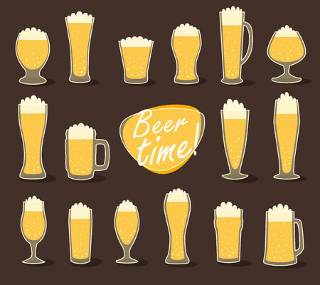 pint: Beer in glass pint of beer flat icon set vector illustration