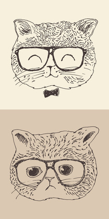 scat: cute cat kitten in glasses hipster style engraved illustration hand drawn