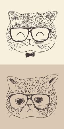 pus: simpatico gatto gattino in occhiali stile hippy illustrazione inciso mano