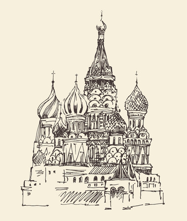 blessed: Moscow Cathedral of Vasily the Blessed city architecture vintage engraved illustration hand drawn