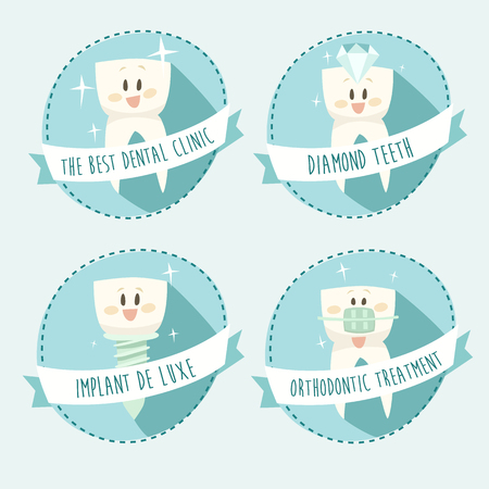 cementum: concept of healthy teeth icon set vector illustration flat design