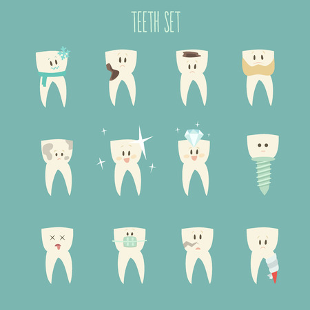 cementum: teeth icon set concept of healthy vector illustration flat design Illustration