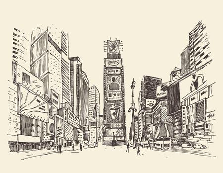 epoca: Calle de Times Square en Nueva York de la ciudad grabado ilustración vectorial dibujado a mano Vectores
