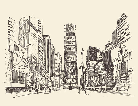 Times Square straat in New York city graveren vector illustratie hand getekend