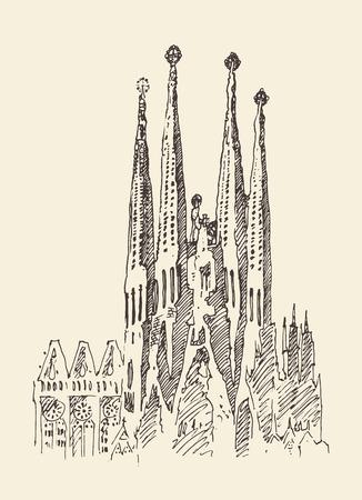 バルセロナ ヴィンテージ刻まれたイラスト手描きのスケッチのアーキテクチャ