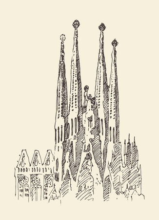 barcelona spain: architecture in barcelona vintage engraved illustration hand drawn sketch