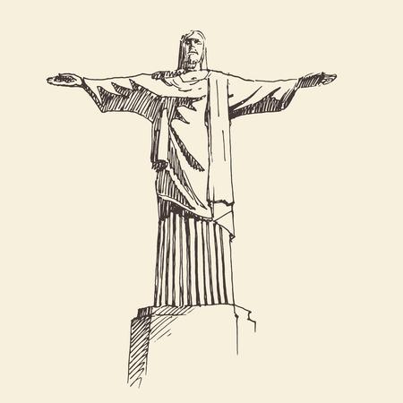 cristo: statue of Jesus Christ Rio de Janeiro city Brazil vintage engraved illustration hand drawn Illustration