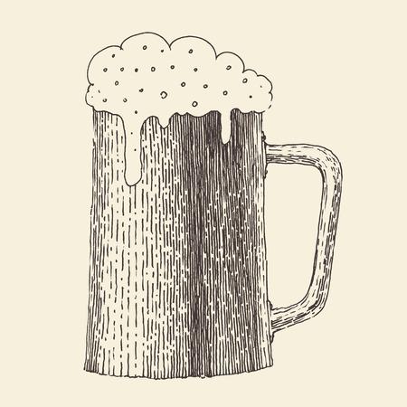 jarra de cerveza: pinta de ilustración grabada boceto dibujado a mano la cerveza del vintage Vectores