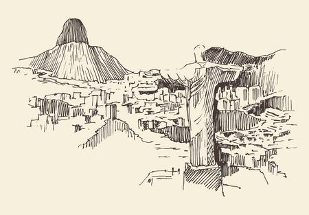 cristo: Rio de Janeiro city Brazil vintage engraved illustration hand drawn Illustration