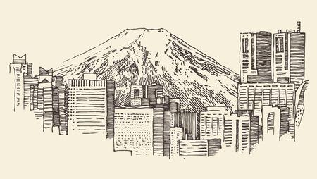 Japan Tokyo city architecture vintage engraved illustration hand drawn  イラスト・ベクター素材
