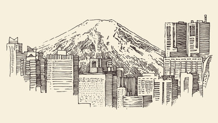 Japan Tokyo city architecture vintage engraved illustration hand drawn 向量圖像