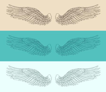 tatouage ange: ailes d'ange mis illustration dessinée à la main croquis de style gravé