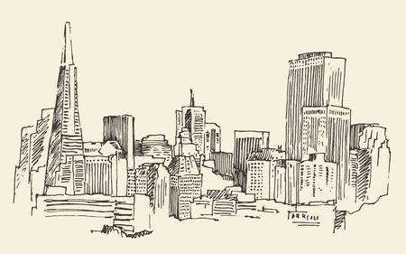 San Francisco 大都市建築ヴィンテージ刻まれたイラスト手描きのスケッチ