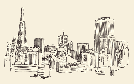 San Francisco big city architecture vintage engraved illustration hand drawn sketch