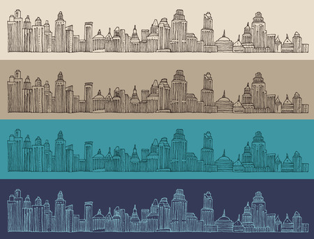 big city architecture engraved illustration hand drawn sketch Illustration