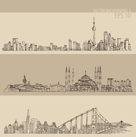 상하이 이스탄불 샌프란시스코 큰 도시 건축 빈티지 새겨진 그림 손으로 그린 스케치 일러스트