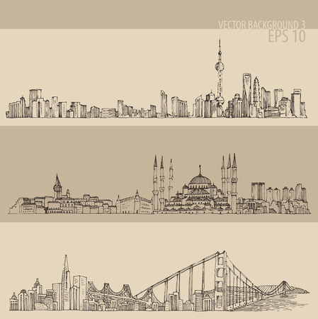 Shanghai Istanbul San Francisco big city architecture vintage engraved illustration hand drawn sketch Illustration