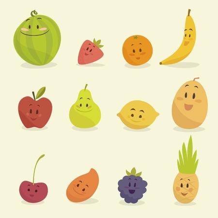 frutas divertidas: frutos de dibujos animados divertidos ilustración vectorial estilo plano Vectores