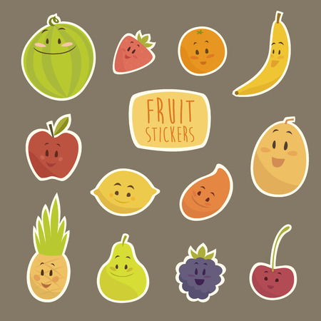 fruit illustration: funny cartoon fruits vector illustration flat style Illustration
