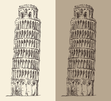 leaning tower of pisa: Leaning Tower of Pisa and Cathedral Italy vintage engraved illustration hand drawn
