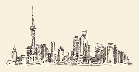 shanghai skyline: Shanghai China city architecture vintage illustration engraved retro style hand drawn sketch
