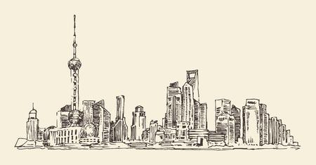 shanghai china: Shanghai China city architecture vintage illustration engraved retro style hand drawn sketch