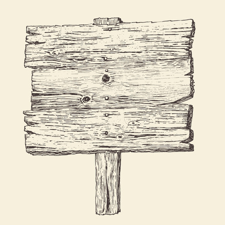 guidepost: wood signboard wooden sign vintage illustration engraved retro style hand drawn