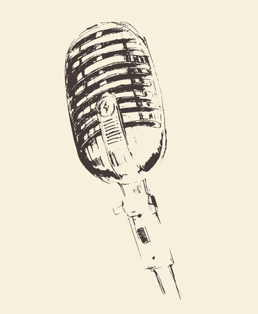 talk show: studio microphone vintage illustration, engraved retro style, hand drawn, sketch vector
